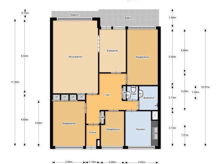 Plattegrond 5 kamerwoning